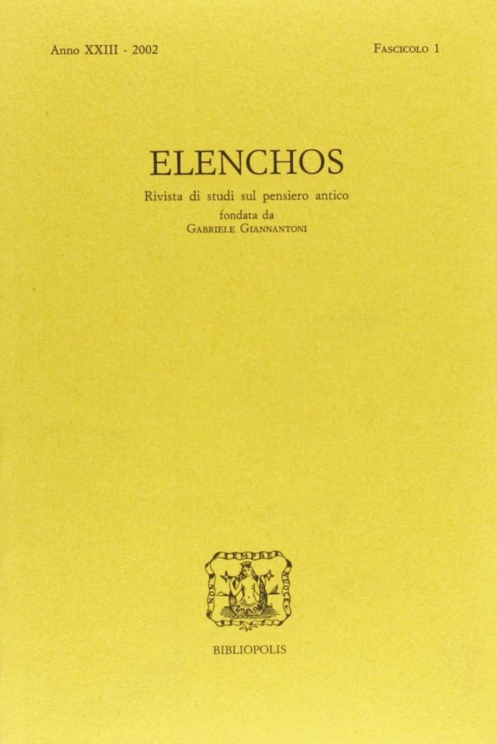 Elenchos. Anno Xxiii 2002. Fascicolo 1