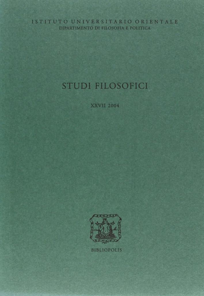 Studi Filosofici Xxvii 2004