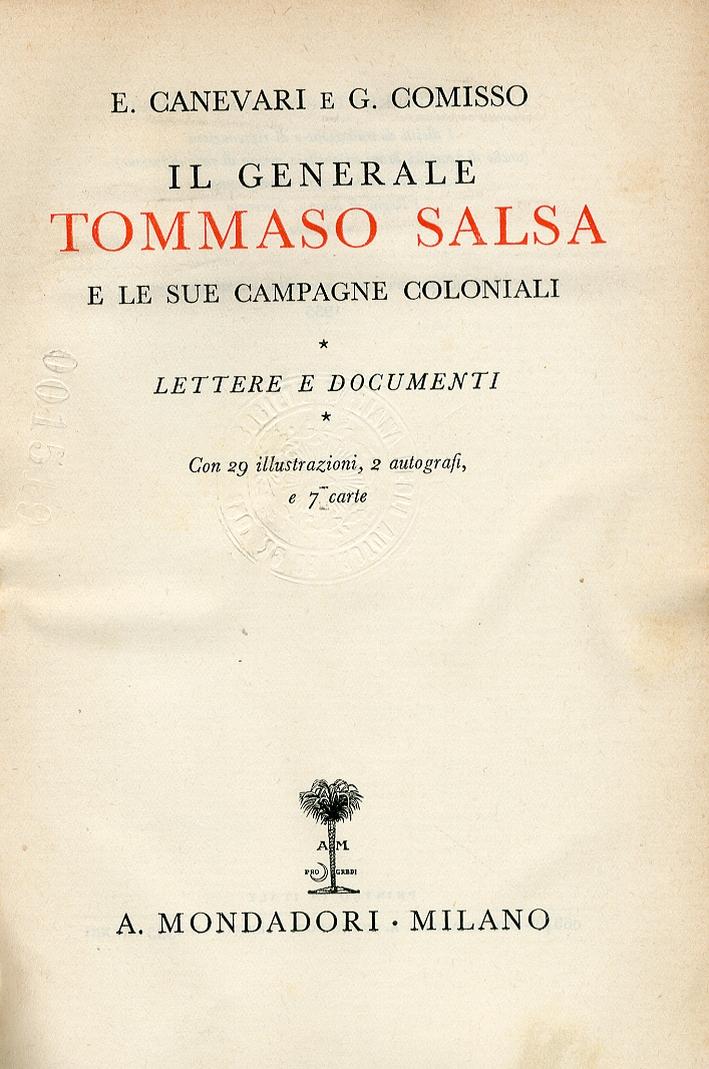 Il Generale Tommaso Salsa e le Sue Campagne Coloniali.
