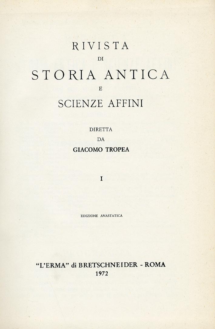 Rivista di storia antica e scienze affini. 1895 Vol.1