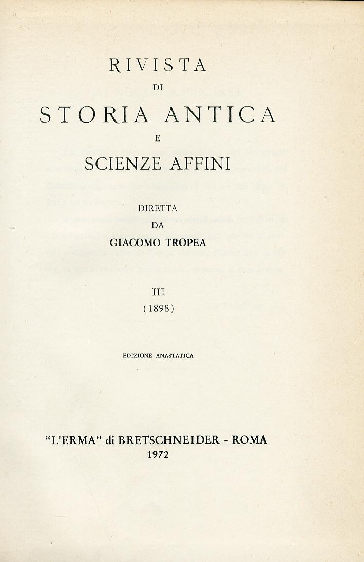 Rivista di storia antica e scienze affini. 1898  Vol.3