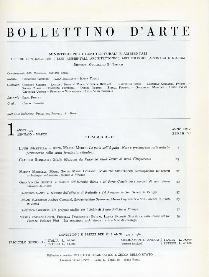 Bollettino d'Arte 1979 1-4 Gennaio Marzo