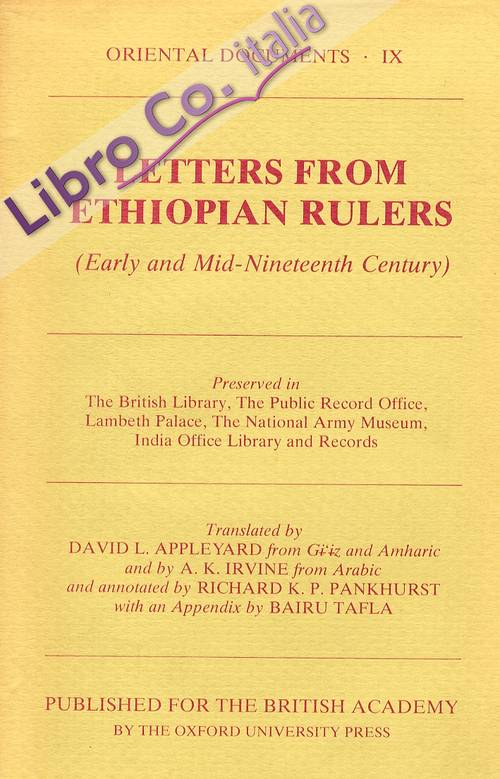 Letters From Ethiopian Rulers. Early and Mid-Nineteenth Century