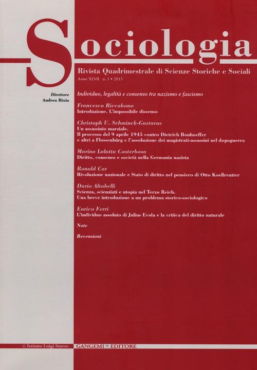 Sociologia. Rivista quadrimestrale di scienze storiche e sociali (2013). Vol. 1