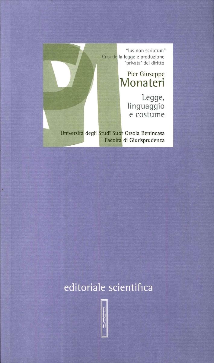 Legge, linguaggio e costume. L'ambiguità della legge dal costume alla soft law