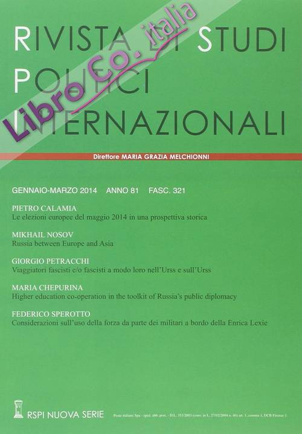 Rivista di studi politici internazionali (2014). Vol. 1