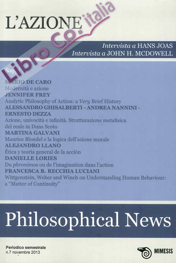 Philosophical News (2013). Vol. 7: l'Azione