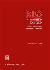 RDS. Rivista di diritto societario interno, internazionale comunitario e comparato (2013). Vol. 3