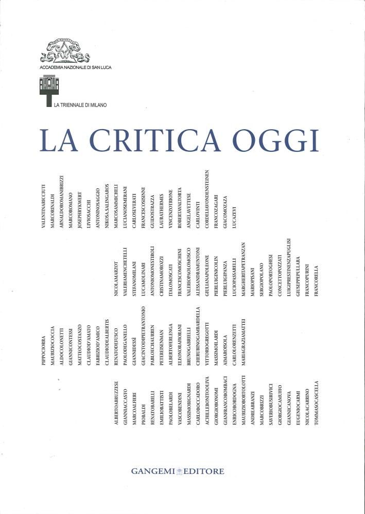 La Critica Oggi. Convegno 15-24 Maggio 2014