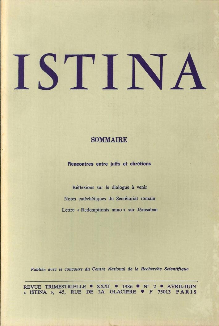 Istina - Revue Trimestrielle. XXXI 1986 N.2 Avril-Juin