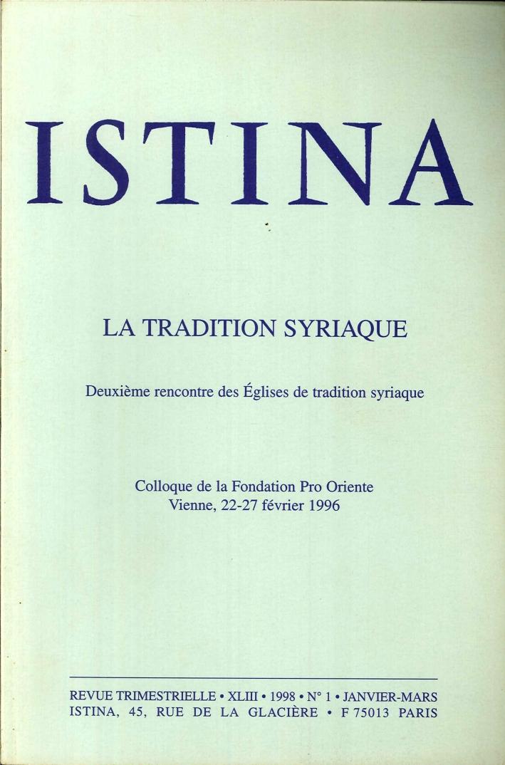 Istina - Revue Trimestrielle. XLIII 1998 N.1/2/3/4