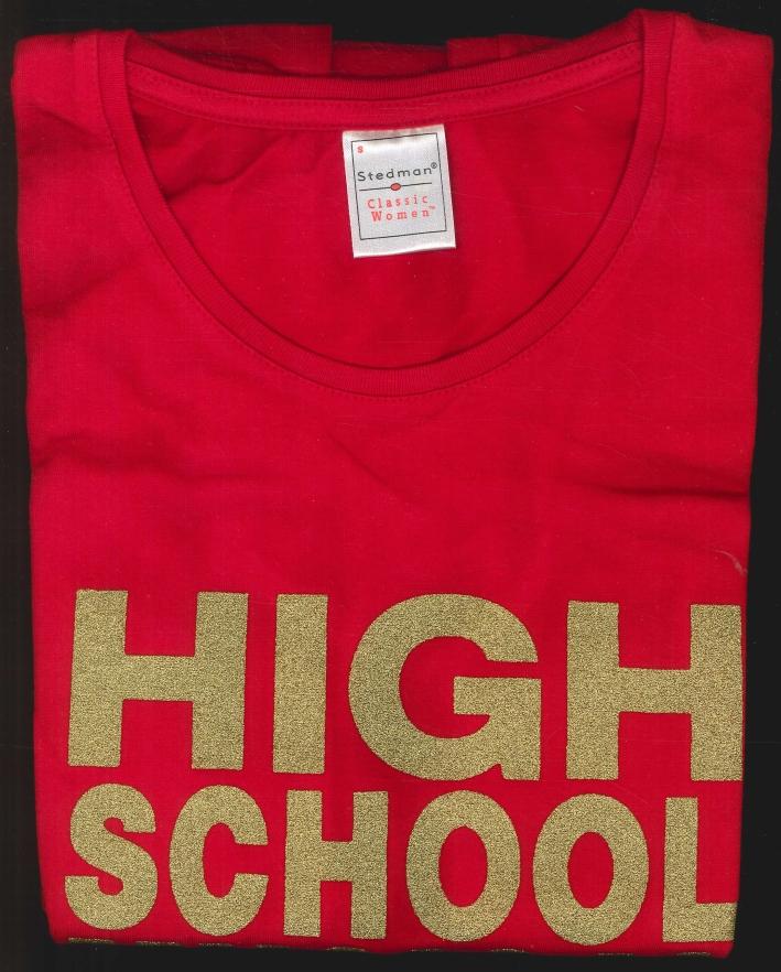 T-Shirt Rossa con Logo High School Musical. Taglia S
