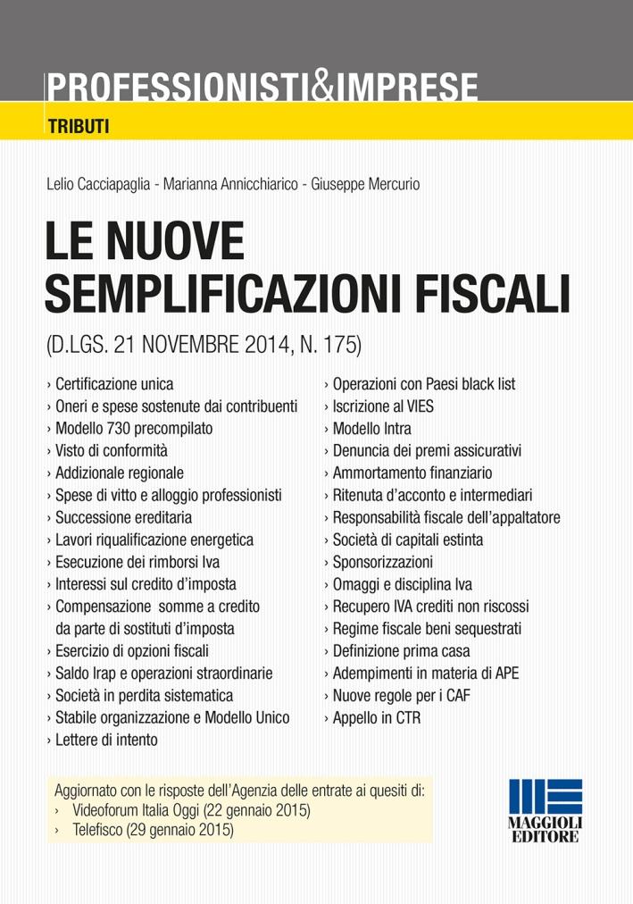 Le nuove semplificazioni fiscali.