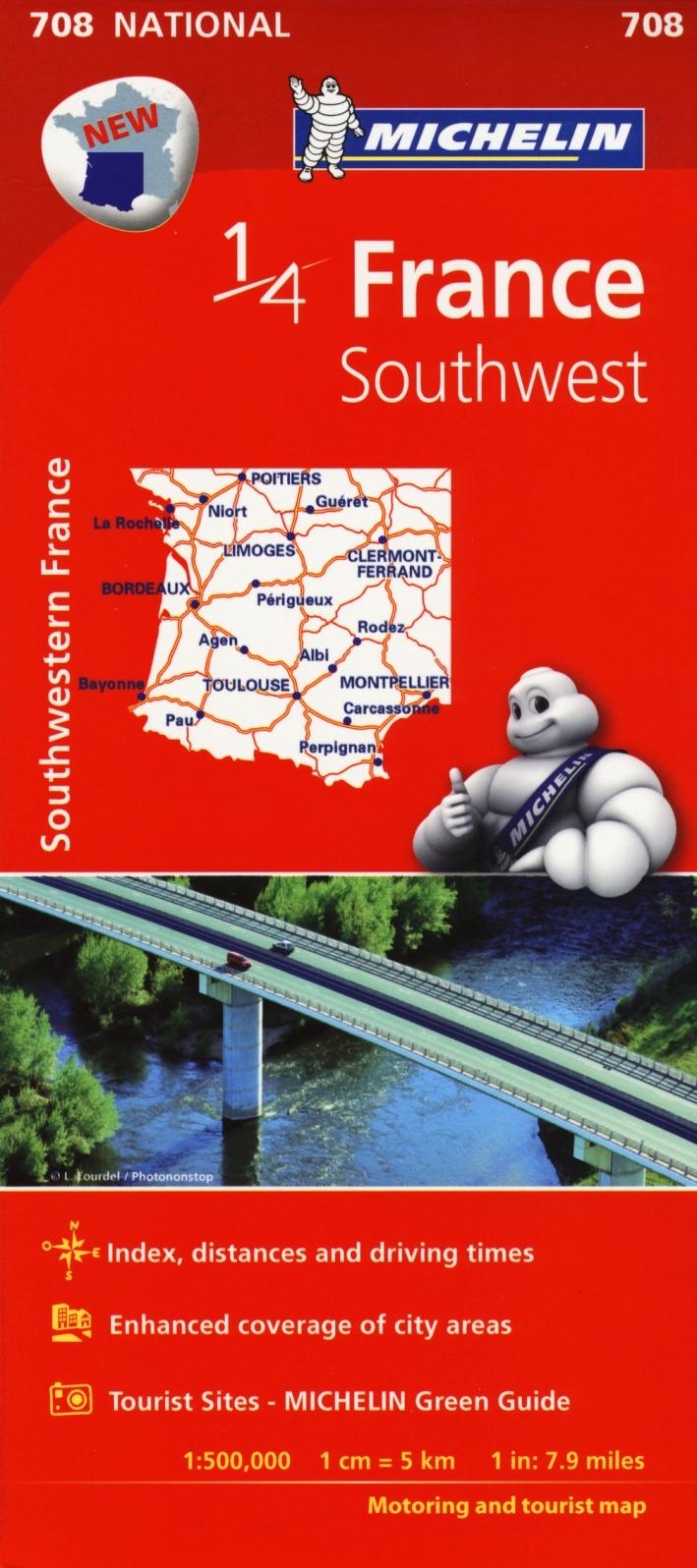 France. Southwest 1:500.000.