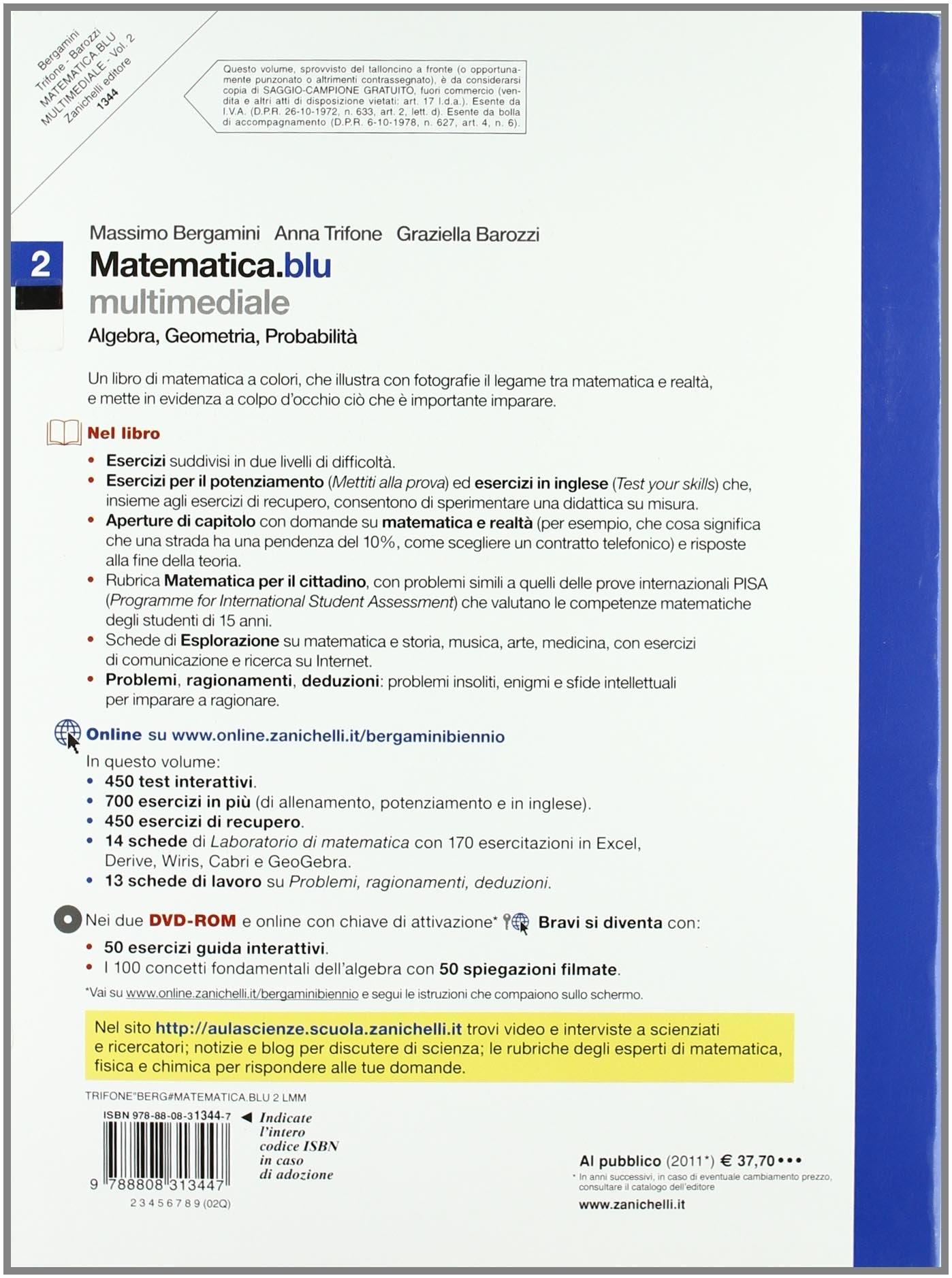 Matematica.blu. Volume 2. Algebra. Geometria. Probabilità. Con espansione online. Con DVD-ROM