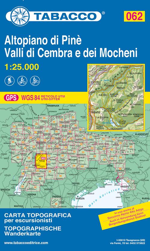Altopiano di Pinè. Valli di Cembra e dei Mocheni. Carta topografica 1:25.000