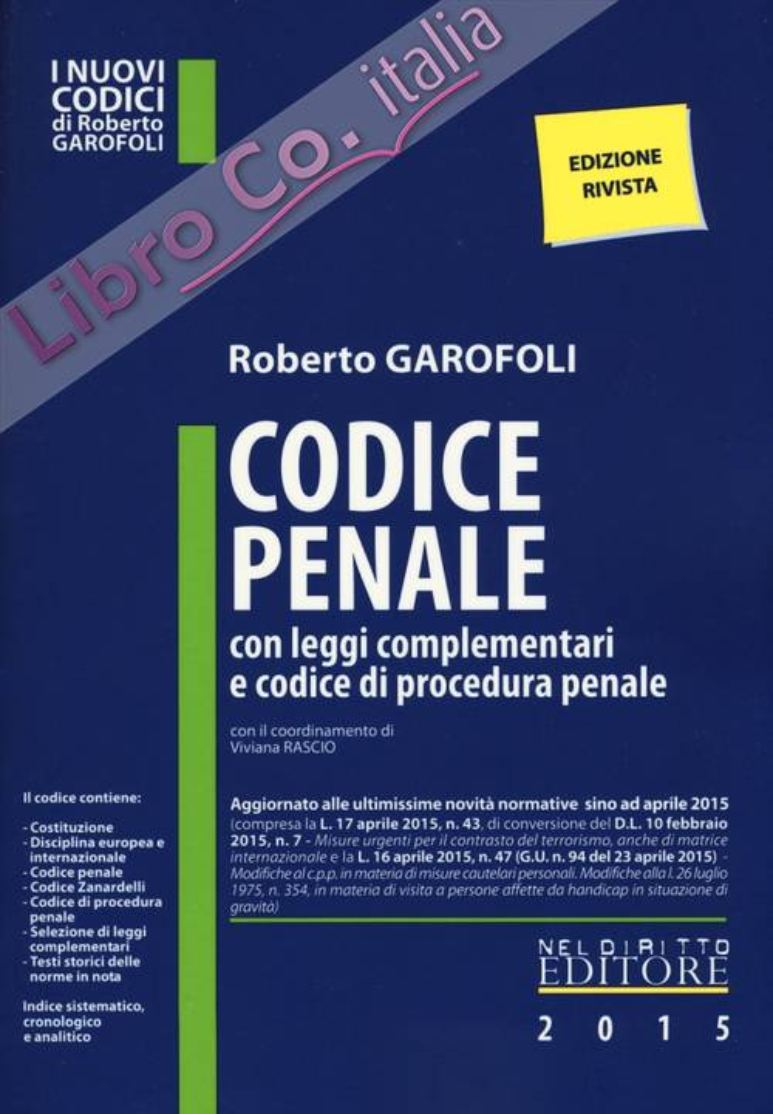 Codice penale con leggi complementari e codice di procedura penale