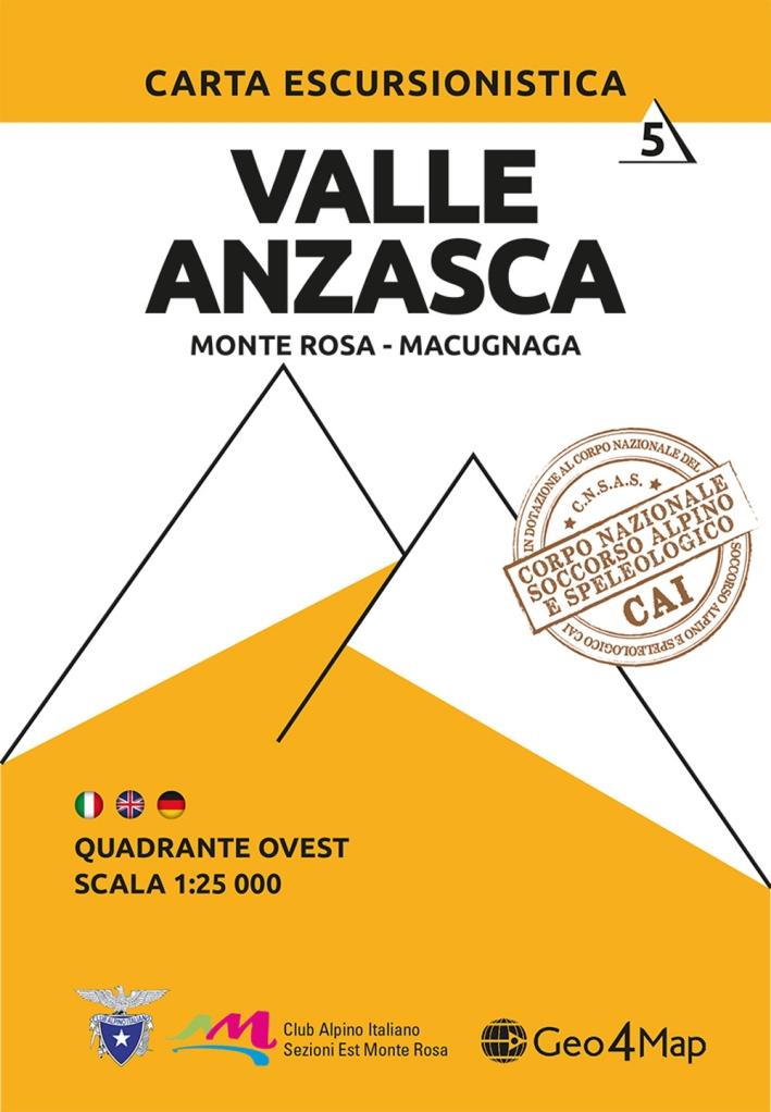 Carta escursionistica Valle Anzasca quadrante Ovest. Ediz. italiana, inglese e tedesca. Vol. 6: Monte Rosa, Macugnaga