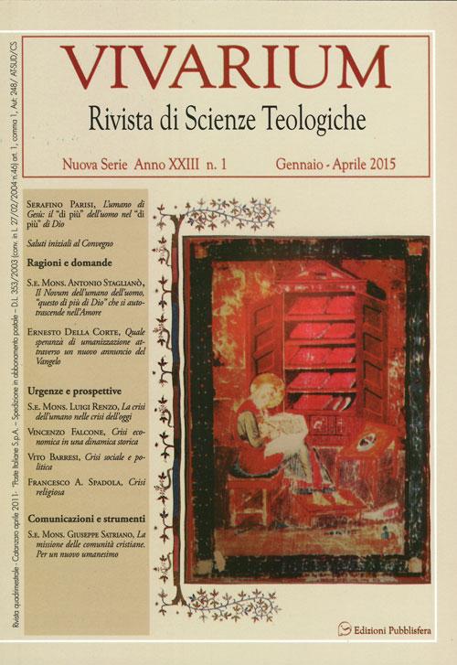 Vivarium. Rivista di scienze teologiche (2015). Vol. 1