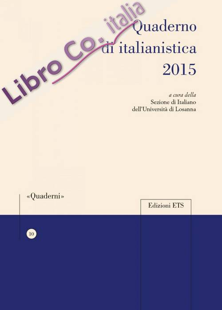 Quaderno di Italianistica 2015.