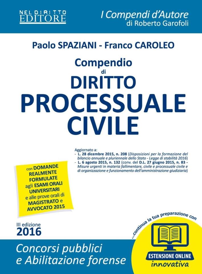 Compendio di Diritto Processuale Civile. Con Espansione Online.