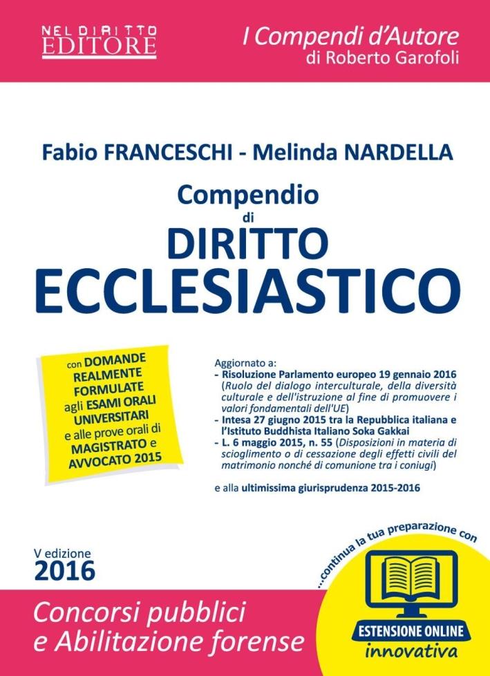 Compendio di Diritto Ecclesiastico. Con Espansione Online.