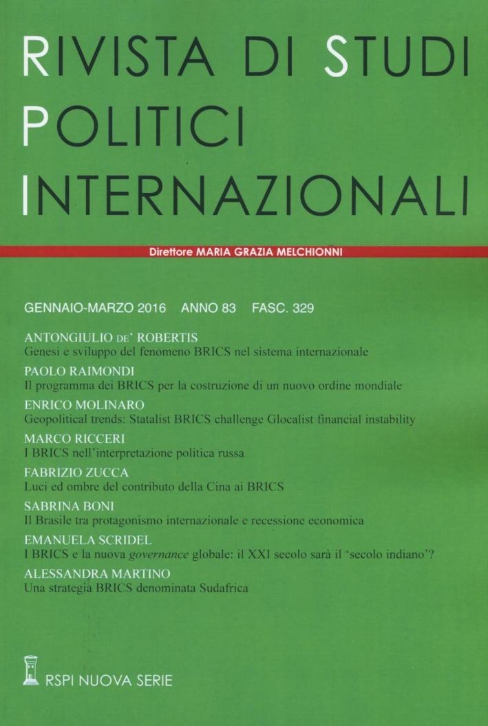 Rivista di studi politici internazionali (2016). Vol. 1.