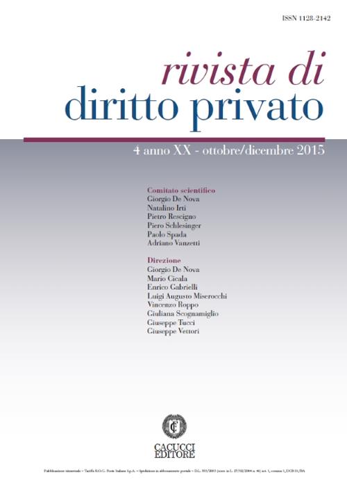 Rivista di diritto privato (2015). Vol. 4.