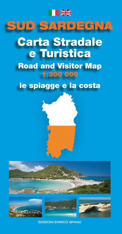 Cartina Sud Sardegna Stradale e Turistica (Con Oltre 30 Schede Spiagge con Descrizione It e En e Foto).