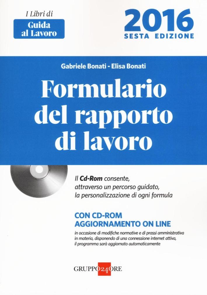 Formulario Rapporto Lavoro 2016.