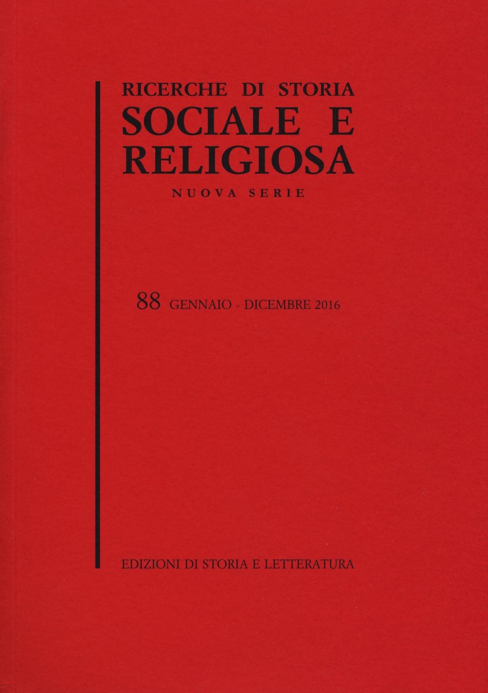 Ricerche di storia sociale e religiosa. Vol. 88.