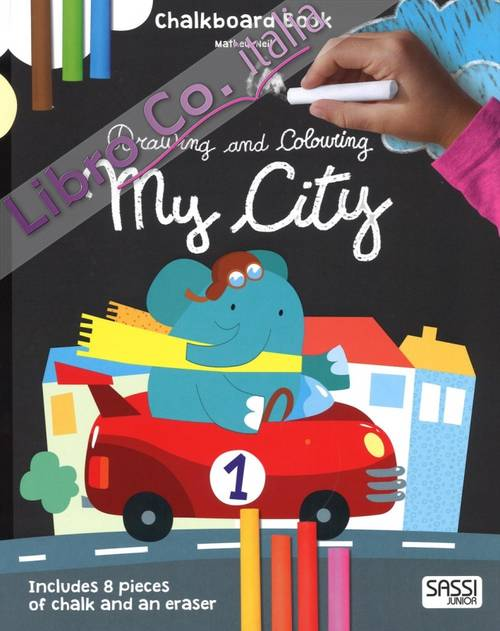 My city. Drawing and coloring. Chalkboard book.