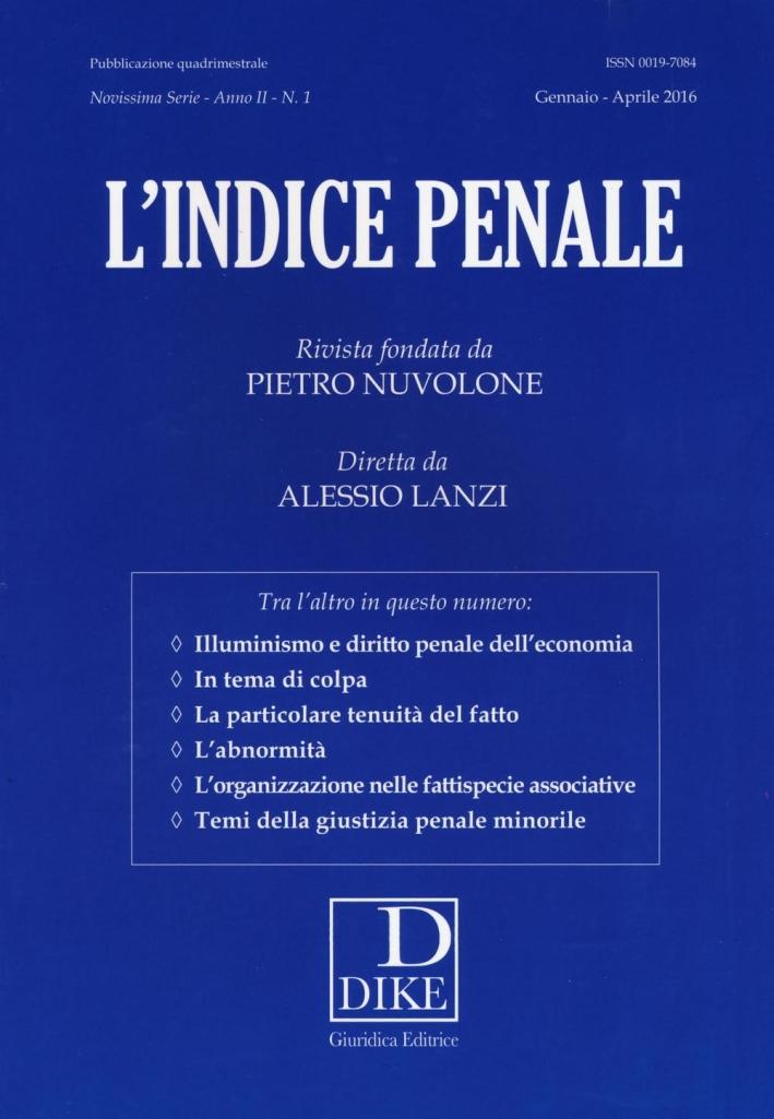 L'indice penale. Vol. 1.