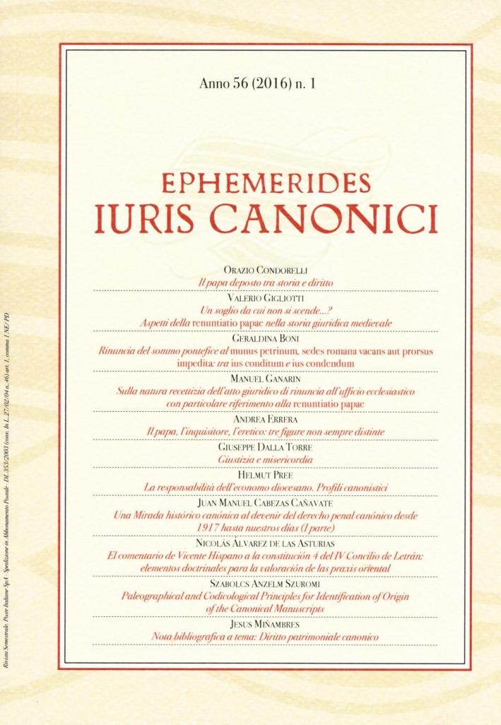 Ephemerides Iuris canonici (2016). Anno 56 Vol. 1.