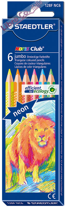 Staedtler. 6 Jumbo Noris Club. Triangular Coloured Pencils. Matite Colorate.
