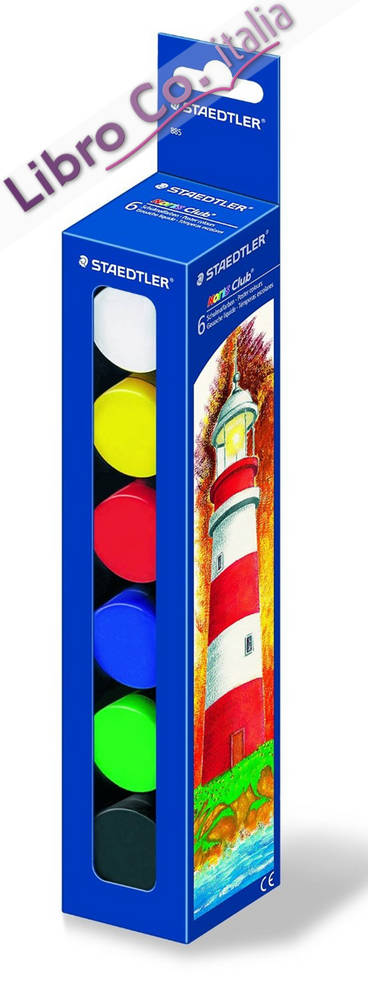 Staedtler 885 - Noris Club Schulmalfarbe 6 Colori, 108 Ml. Posted Colours. Colori a Tempera