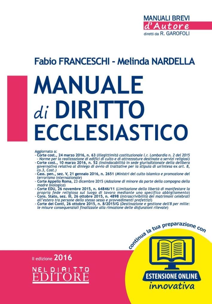Manuale di Diritto Ecclesiastico. Con Espansione Onlinbe.