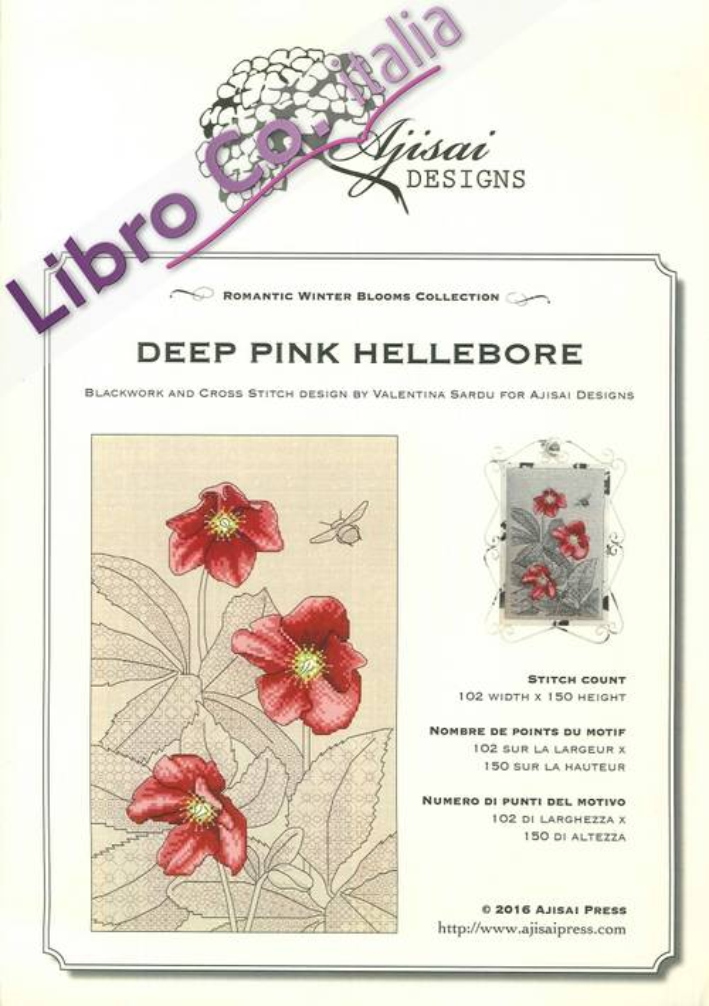 Deep Pink Hellebore. Cross Stitch Blackwork Design.