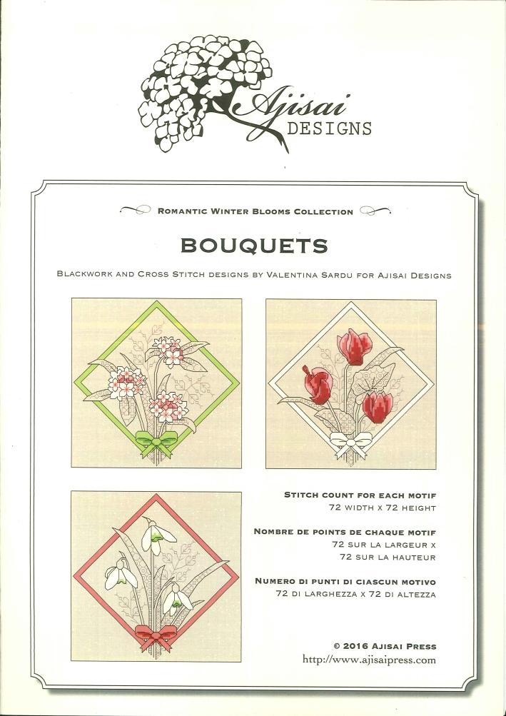 Bouquets. Cross Stitch Blackwork Design.