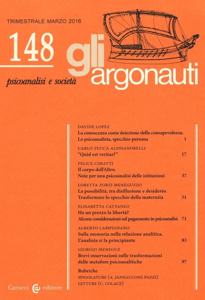 Gli argonauti (2016). Vol. 148.
