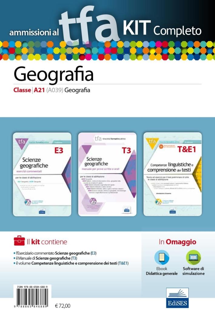 TFA. Geografia classe A21 (A039) per prove scritte e orali. Kit completo. Con software di simulazione