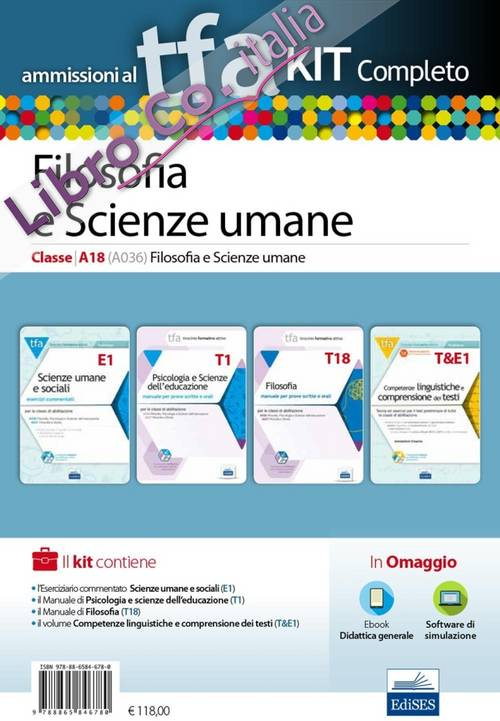 TFA. Filosofia e scienze umane classe A18 (A036) per prove scritte e orali. Kit completo. Con software di simulazione