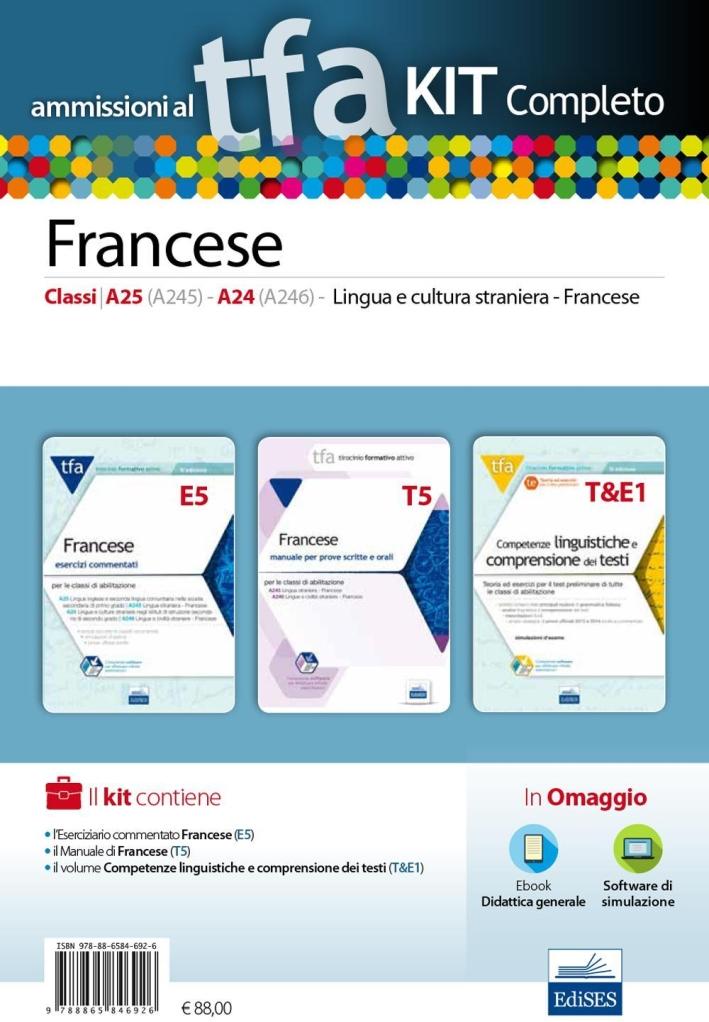 TFA. Francese classi A25 (A245), A24 (A246) per prove scritte e orali. Kit completo. Con software di simulazione