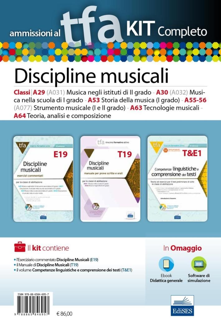 TFA. Discipline musicali classi A29 (A031), A030 (A032), A53, A55/56, A63,A64 per le prove scritte e orali. Kit completo. Con software di simulazione