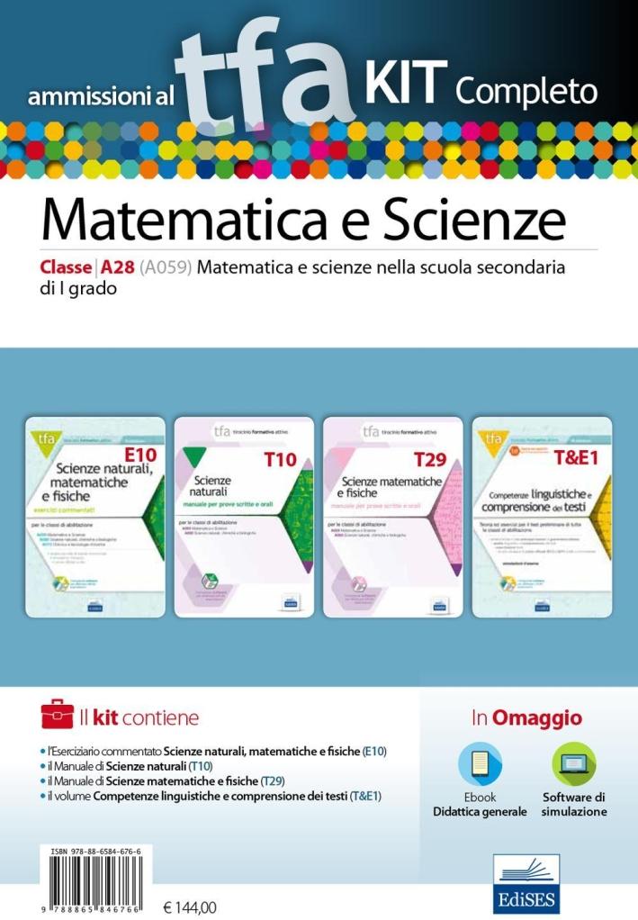 TFA. Matematica e scienze classe A28 (A059) per prove scritte e orali.Kit completo. Con software di simulazione