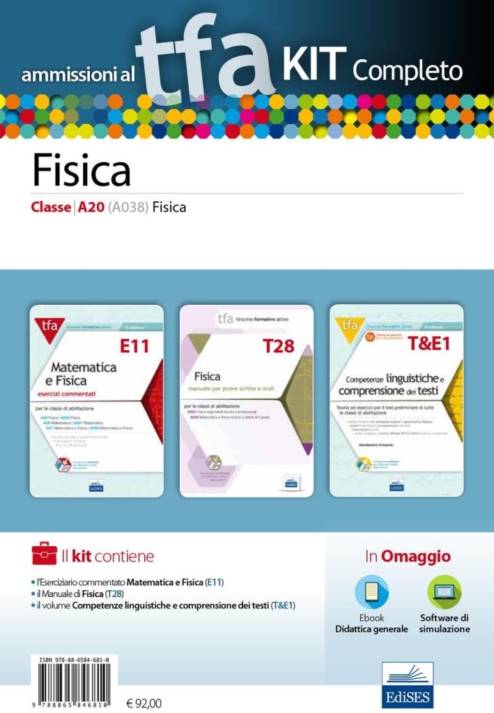 TFA. Fisica classe A20 (A038) per prove scritte e orali. Kit completo. Con software di simulazione