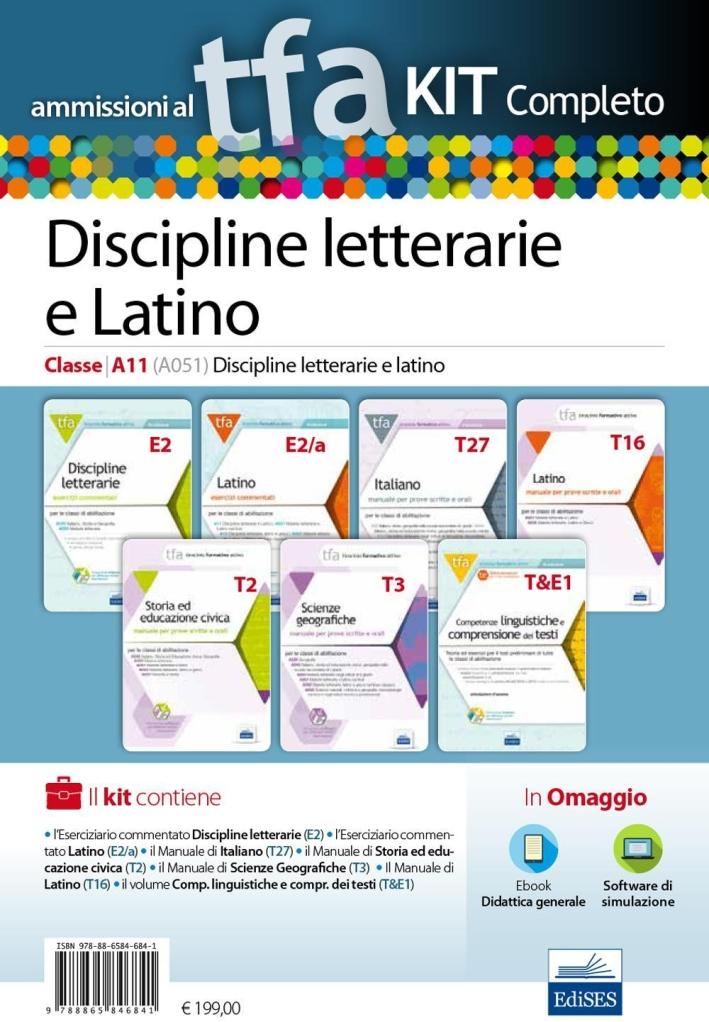 TFA. Discipline letterarie e latino classe A11 (A051) per prove scritte e orali. Kit completo. Con software di simulazione