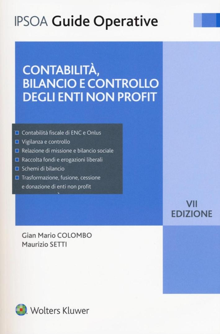 Contabilità, bilancio e controllo degli enti non profit.