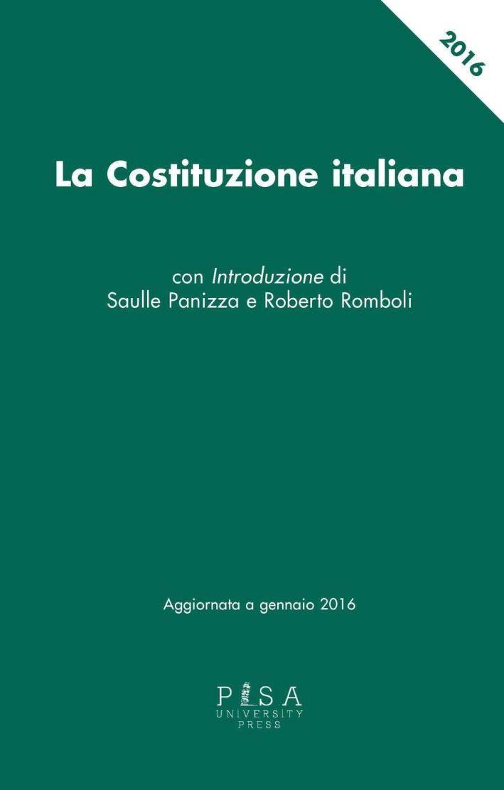 La Costituzione italiana aggiornata a gennaio 2016.