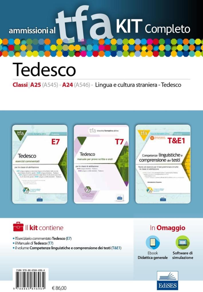 TFA. Tedesco classi A25, A545, A24, A546, per prove scritte e orali. Kit completo. Con software di simulazione